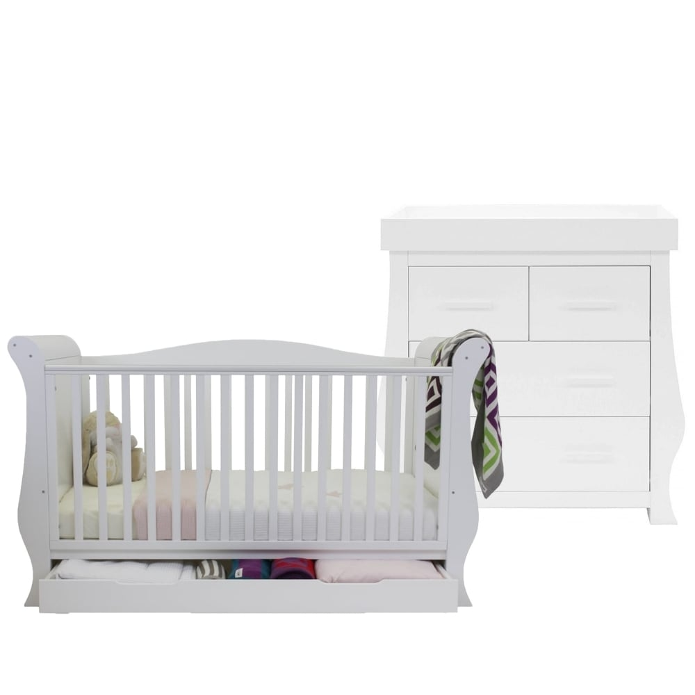 - BabyStyle Hollie Sleigh Cot Bed & Dresser - White - Cot Beds