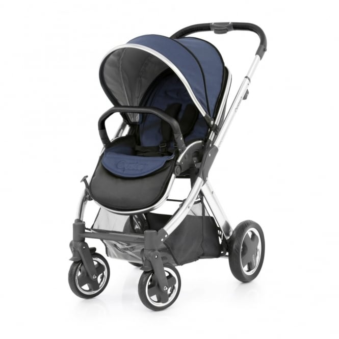 BabyStyle Oyster 2 Pushchair + Free Fur Liner - Mirror Chassis (Black) - Oxford Blue