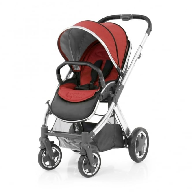 BabyStyle Oyster 2 Pushchair - Mirror Chassis (Black) - Tango Red