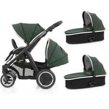 Oyster Max Tandem + 2 Carrycots - Black Chassis - Olive Green