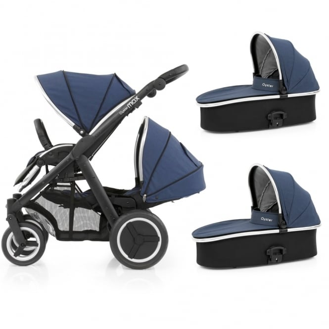 BabyStyle Oyster Max Tandem + 2 Carrycots - Black Chassis - Oxford Blue