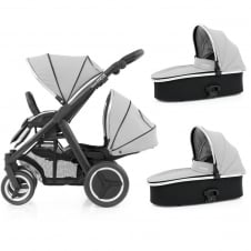 Oyster Max Tandem + 2 Carrycots - Black Chassis - Pure Silver