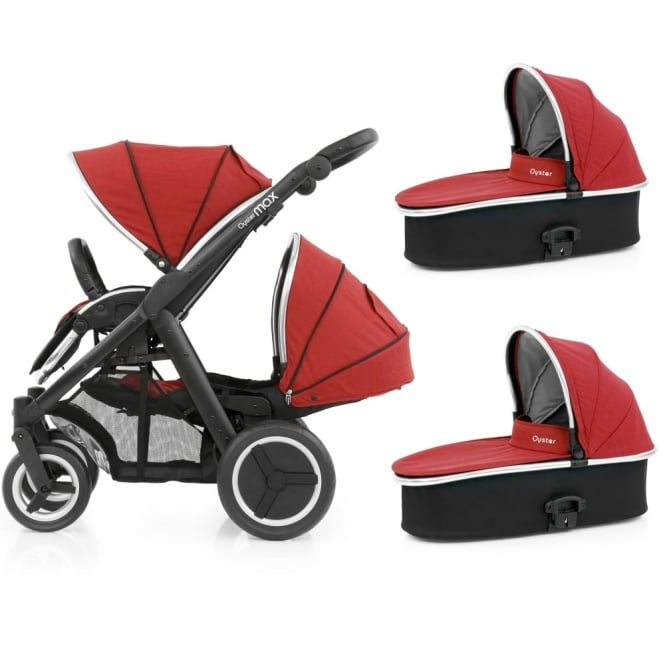 BabyStyle Oyster Max Tandem + 2 Carrycots - Black Chassis - Tango Red