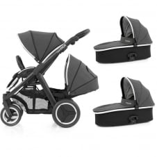 Oyster Max Tandem + 2 Carrycots - Black Chassis - Tungsten Grey
