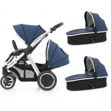 Oyster Max Tandem + 2 Carrycots - Mirror Chassis - Oxford Blue