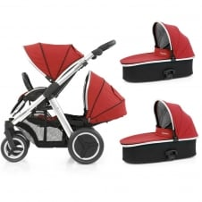Oyster Max Tandem + 2 Carrycots - Mirror Chassis - Tango Red