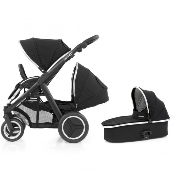 BabyStyle Oyster Max Tandem + Carrycot - Black Chassis - Ink Black