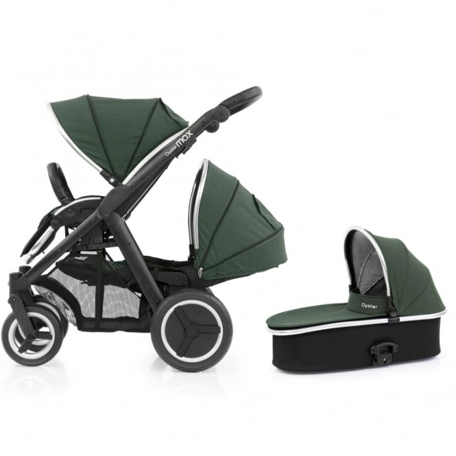 BabyStyle Oyster Max Tandem + Carrycot - Black Chassis - Olive Green