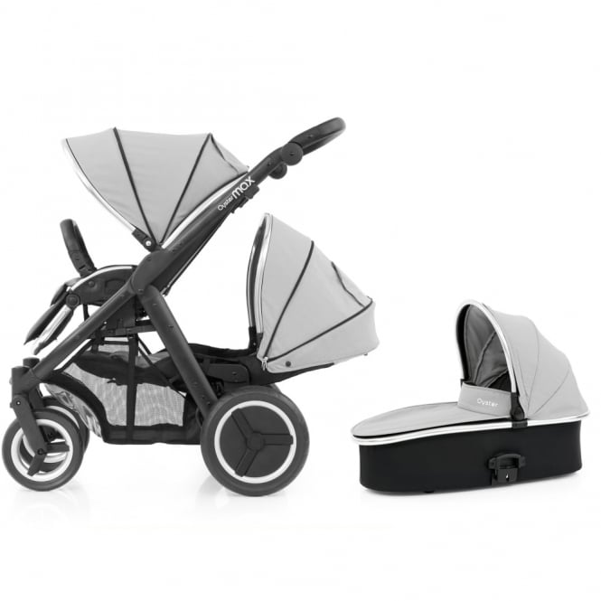 BabyStyle Oyster Max Tandem + Carrycot - Black Chassis - Pure Silver