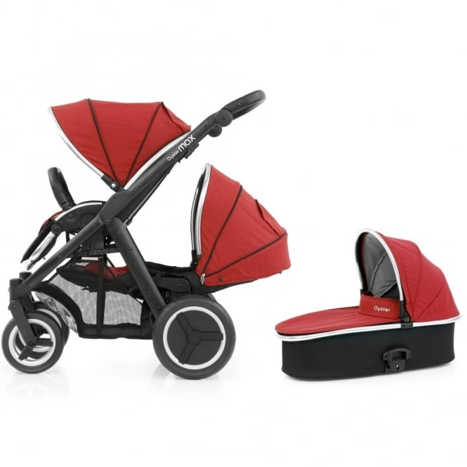 BabyStyle Oyster Max Tandem + Carrycot - Black Chassis - Tango Red
