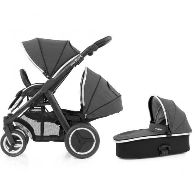 BabyStyle Oyster Max Tandem + Carrycot - Black Chassis - Tungsten Grey