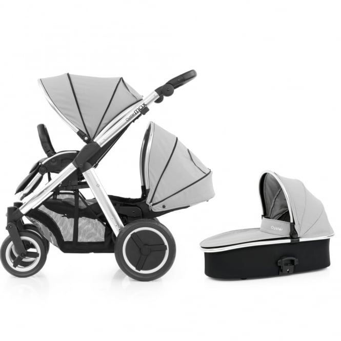 BabyStyle Oyster Max Tandem + Carrycot - Mirror Chassis - Pure Silver