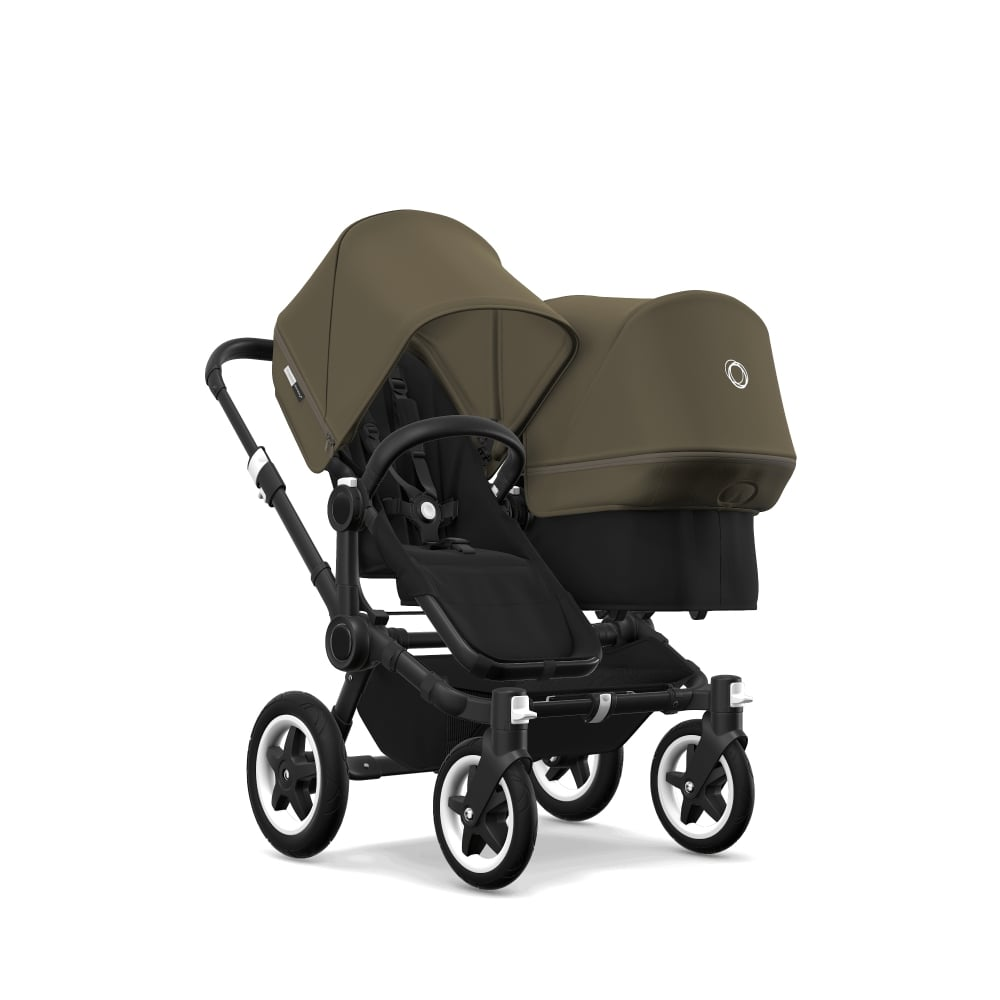 2a3602aee871 Bugaboo Donkey 2 Duo - Black Base Fabric - Black Chassis - Olive ...