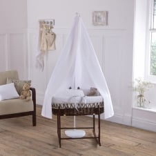 6 Piece Cocoa Wicker Moses Basket (White Waffle)