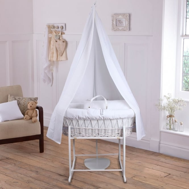 Clair-De-Lune 6 Piece White Wicker Moses Basket (White Waffle)