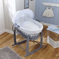 Stars & Stripes Grey Wicker Moses Basket