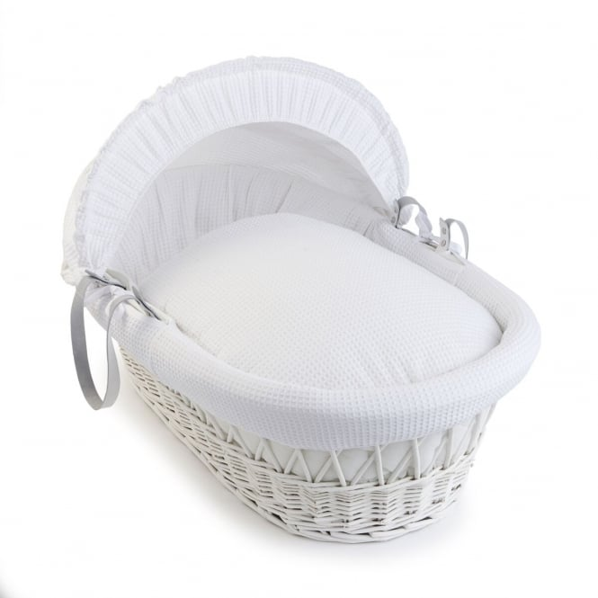Clair-De-Lune Waffle White Wicker Moses Basket