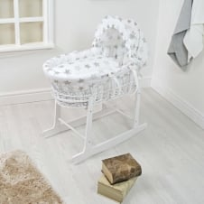 White Wicker Moses Basket - Grey Stars