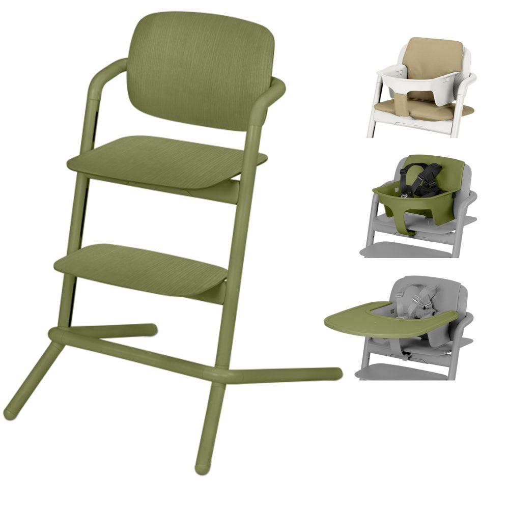 27512dca52b2 Lemo Wood Highchair + Baby Seat + Tray + Pale Beige Comfort Inlay - Outback  Green