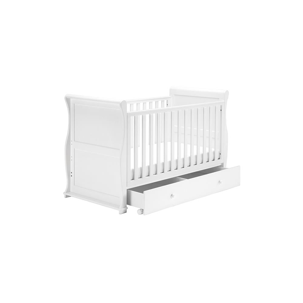 - East Coast Alaska Sleigh Cot Bed With Drawer - White - Cot Beds