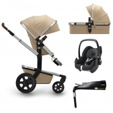 Day² Earth + Carrycot + Pebble + Familyfix Base - Camel Beige + FREE Footmuff & Raincover