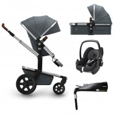 Day² Earth + Carrycot + Pebble + Familyfix Base - Hippo Grey + FREE Footmuff & Raincover
