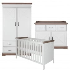Savona White/Grey (with cross) 3 Piece Room Set