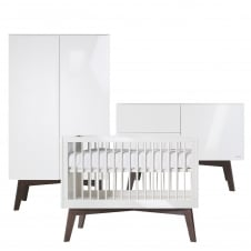 Sixties White Glossy/Dark Pine 3 Piece Room Set