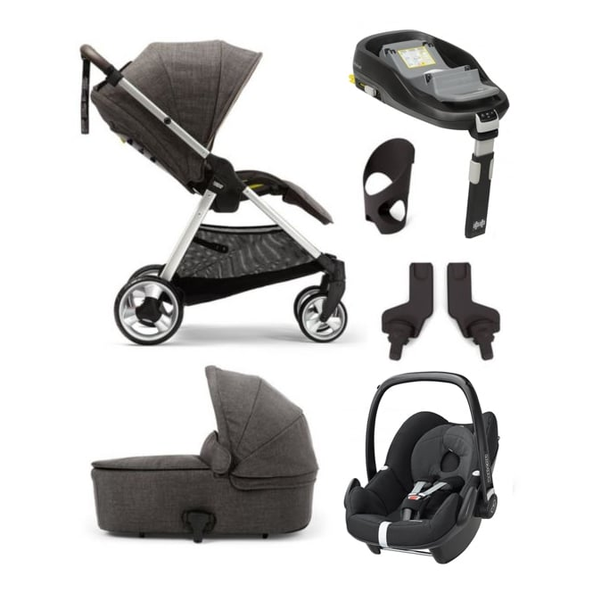 Mamas & Papas Flip XT 6 Piece - Flip XT + Carrycot + Pebble + Familyfix Base + Cup Holder + Adapters