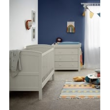 Mia Classic 2 Piece Furniture Set - Cot Bed & Dresser - Grey