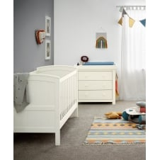 Mia Classic 2 Piece Furniture Set - Cot Bed & Dresser - Ivory