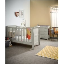 Mia Sleigh 2 Piece Furniture Set - Cot Bed & Dresser - Grey