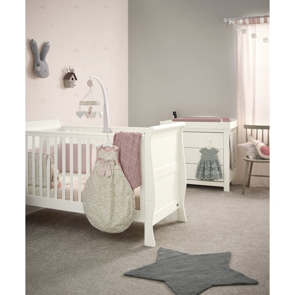 Mia sleigh 2 piece furniture set cot bed dresser ivory