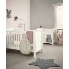 Mia Sleigh 2 Piece Furniture Set - Cot Bed & Dresser - Ivory