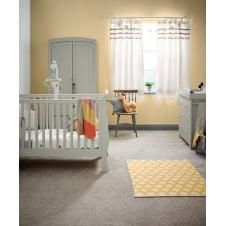 Mia Sleigh 3 Piece Nursery Set with Cotbed, Dresser & Wardrobe - Grey