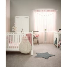 Mia Sleigh 3 Piece Nursery Set with Cotbed, Dresser & Wardrobe - Ivory + FREE Sprung Mattress