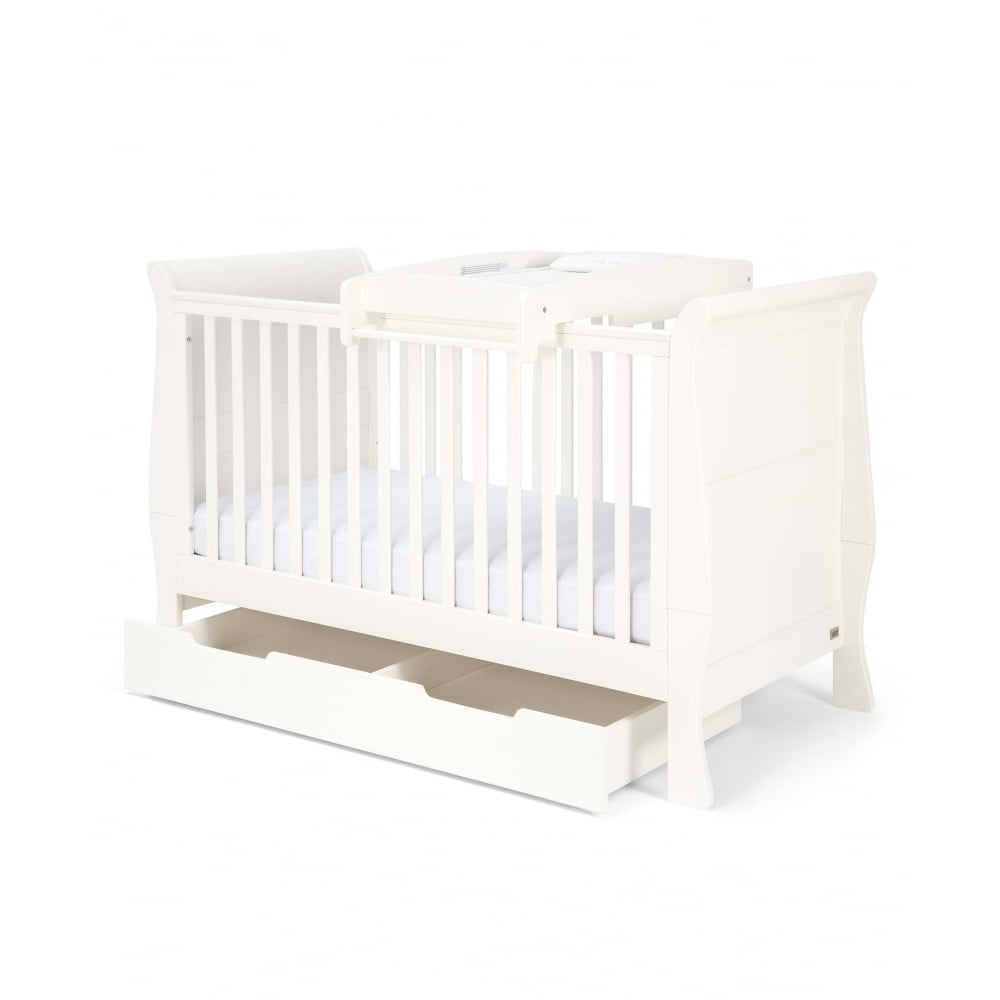 Mia Sleigh Cot Bed Package With Storage And Changer Top   Ivory
