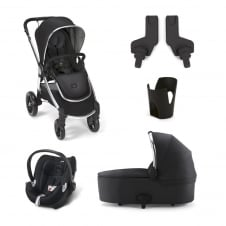 Ocarro - Black 5 Piece - Pushchair + Carrycot + Cup Holder + Adaptors + Aton Car Seat