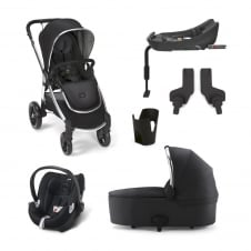 Ocarro - Black 6 Piece - Pushchair + Carrycot + Cup Holder + Adaptors + Aton Car Seat + Isofix Base