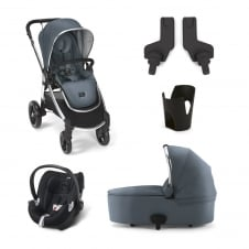 Ocarro - Blue Mist 5 Piece - Pushchair + Carrycot + Cup Holder + Adaptors + Aton Car Seat