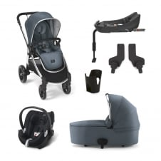 Ocarro - Blue Mist 6 Piece - Pushchair + Carrycot + Cup Holder + Adaptors + Aton Car Seat + Isofix Base