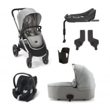 Ocarro - Cloud Grey 6 Piece - Pushchair + Carrycot + Cup Holder + Adaptors + Aton Car Seat + Isofix Base