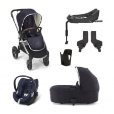 Ocarro - Dark Navy 6 Piece - Pushchair + Carrycot + Cup Holder + Adaptors + Aton Car Seat + Isofix Base
