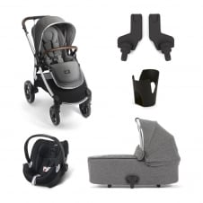 Ocarro - Grey Twill 5 Piece - Pushchair + Carrycot + Cup Holder + Adaptors + Aton Car Seat