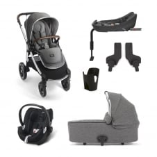 Ocarro - Grey Twill 6 Piece - Pushchair + Carrycot + Cup Holder + Adaptors + Aton Car Seat + Isofix Base