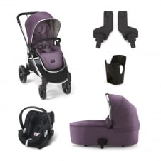 Ocarro - Plum Wine 5 Piece - Pushchair + Carrycot + Cup Holder + Adaptors + Aton Car Seat
