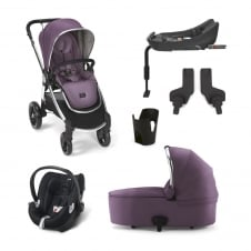 Ocarro - Plum Wine 6 Piece - Pushchair + Carrycot + Cup Holder + Adaptors + Aton Car Seat + Isofix Base