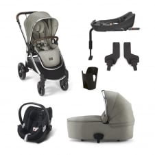 Ocarro - Sage Green 6 Piece - Pushchair + Carrycot + Cup Holder + Adaptors + Aton Car Seat + Isofix Base