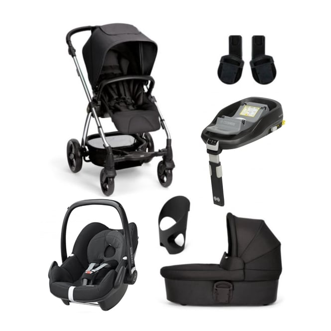 Mamas & Papas SolaŒ_ - 6 Piece - Carrycot + Pebble + Familyfix + Cup Holder + Adaptors