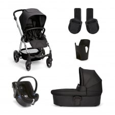 Sola² - Black 5 Piece - Pushchair + Carrycot + Cup Holder + Adaptors + Car Seat